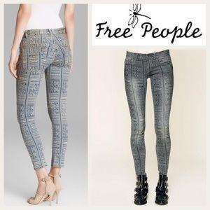 Free people geometric jeans in grey